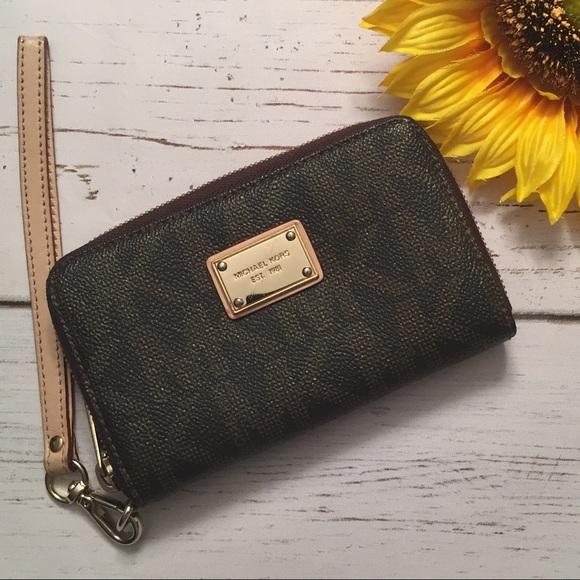 Michael Kors Handbags - Michael Kors Logo Zip Around Wallet Wristlet